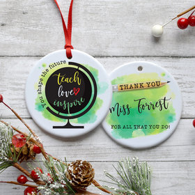 Personalized Teach Love Inspire Christmas Ornament
