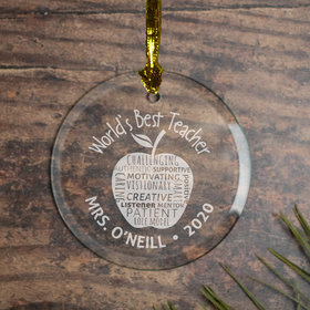 Personalized World's Best Teacher (Etched) Christmas Ornament