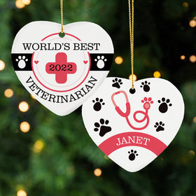Personalized World's Best Veterinarian Christmas Ornament