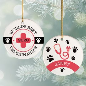Personalized World's Best Vet Christmas Ornament