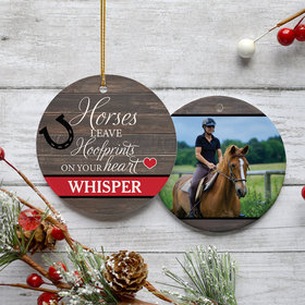 Personalized Horses Leave Hoofprints on Your Heart Christmas Ornament