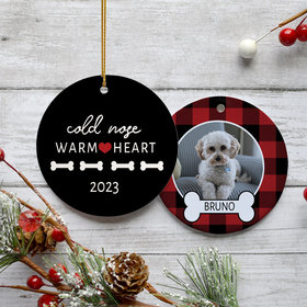 Personalized Cold Nose Warm Heart Christmas Ornament