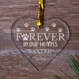 Personalized Memorial Forever Hearts (Etched) Christmas Ornament