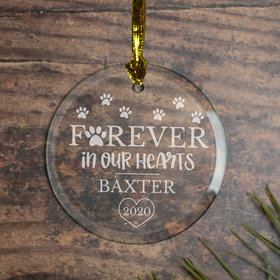 Personalized Forever in Our Hearts - Etched Christmas Ornament