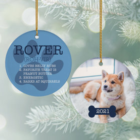 Personalized All About Pet Christmas Ornament