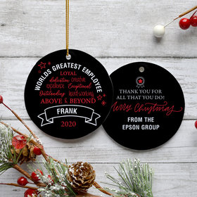 Personalized World's Best Employee Christmas Ornament