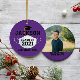 Personalized Quarantined Graduation Photo Christmas Ornament