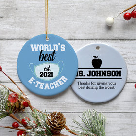 Personalized E-Teacher Appreciation Christmas Ornament