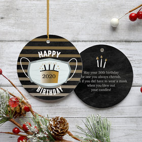 Personalized Quarantine Birthday - Black/Gold Christmas Ornament