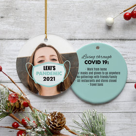 Personalized Quarantine Life Photo Christmas Ornament