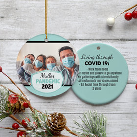 Personalized Quarantine Life Family Photo Christmas Ornament