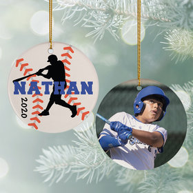 Personalized Baseball Photo Christmas Ornament