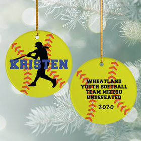 Personalized Softball Christmas Ornament