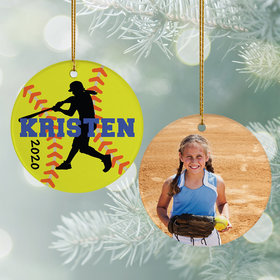 Personalized Softball Photo Christmas Ornament