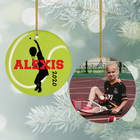 Personalized Tennis Photo Christmas Ornament