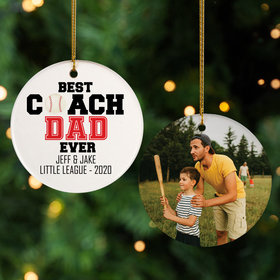 Personalized Best Coach Dad Christmas Ornament