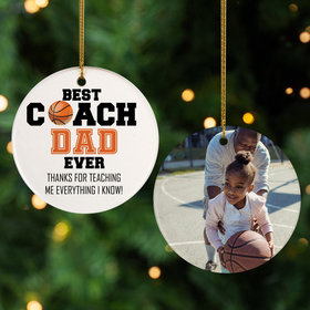 Personalized Best Coach Dad Basketball Christmas Ornament