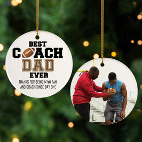 Personalized Best Coach Dad Football Christmas Ornament