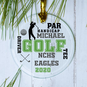 Personalized Golf Team Word Cloud Christmas Ornament