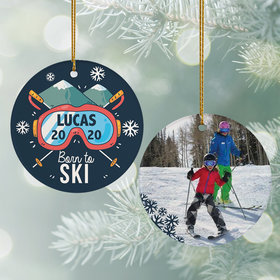 Personalized Born to Ski Christmas Ornament