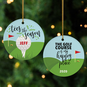 Personalized 'Happy Place' Golf Christmas Ornament
