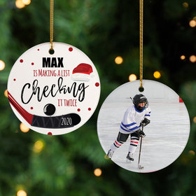 Personalized Hockey Photo Christmas Ornament