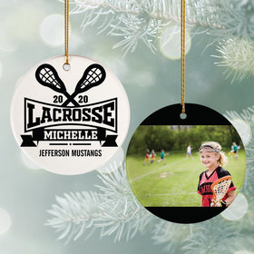 Personalized Lacrosse Photo Christmas Ornament