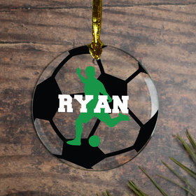 Personalized Soccer M Christmas Ornament