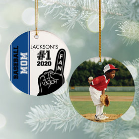 Personalized #1 Fan Baseball Christmas Ornament