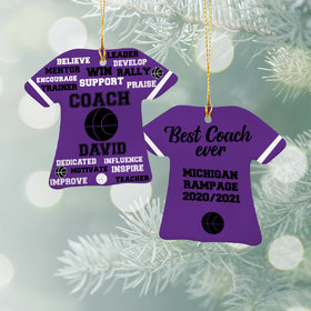 Personalized Best Coach Basketball - Purple Christmas Ornament