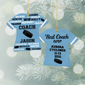 Personalized Best Coach Hockey - Purple Christmas Ornament