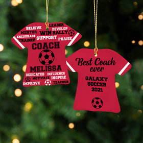 Personalized Best Coach Soccer - Purple Christmas Ornament