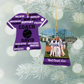 Personalized Best Coach Baseball with Image - Purple Christmas Ornament