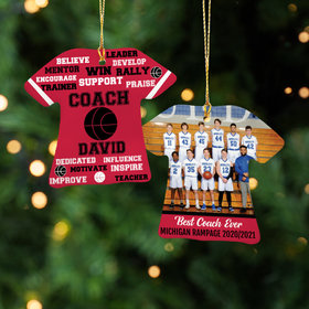 Personalized Best Coach Basketball with Image - Purple Christmas Ornament