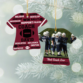Personalized Best Coach Football with Image - Purple Christmas Ornament