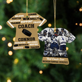 Personalized Best Coach Hockey with Image - Purple Christmas Ornament