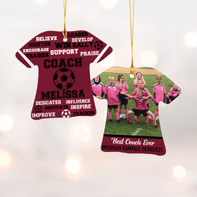 Personalized Best Coach Soccer with Image - Purple Christmas Ornament