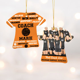 Personalized Best Coach Volleyball with Image - Purple Christmas Ornament
