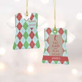 Personalized Eat Sleep Play Golf Plaid Christmas Ornament