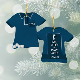 Personalized Eat Sleep Play Golf Polo Christmas Ornament