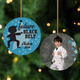 Personalized Future Black Belt Boy Photo Christmas Ornament