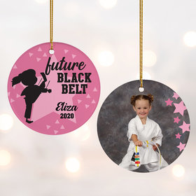 Personalized Future Black Belt Girl Christmas Ornament