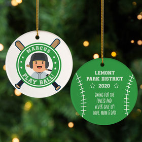 Personalized Little Slugger Male Christmas Ornament