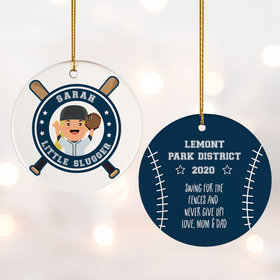 Personalized Little Slugger Female Christmas Ornament