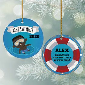 Personalized New Swimmer Male Christmas Ornament