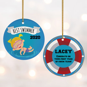 Personalized New Swimmer Female Christmas Ornament