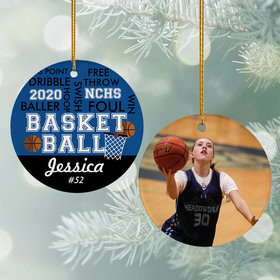 Personalized Word Cloud Basketball - Purple Christmas Ornament