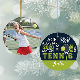 Personalized Tennis Word Cloud Christmas Ornament