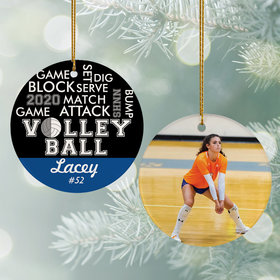 Personalized Word Cloud Volleyball - Purple Christmas Ornament