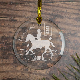 Personalized Horseback Riding (Etched) Christmas Ornament
